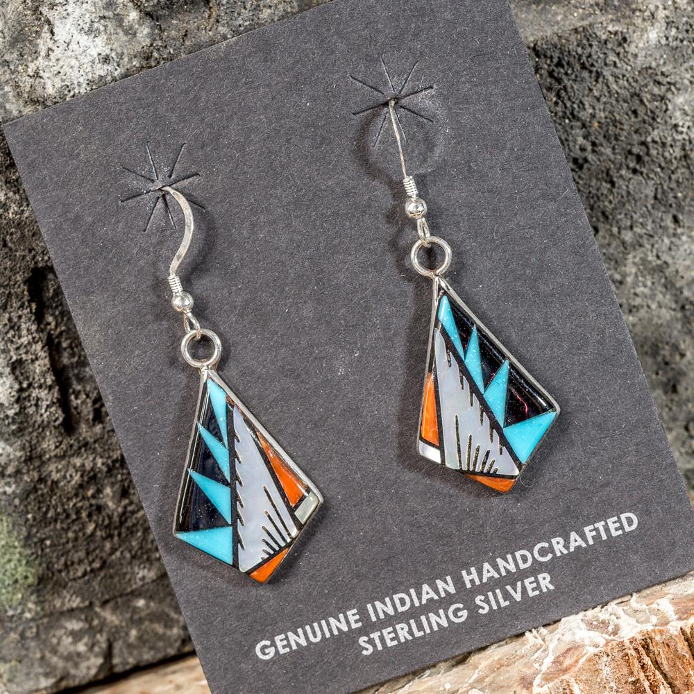 Sleeping Beauty Turquoise Geometric Inlay Earrings SB200093
