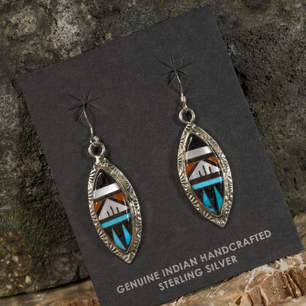 Sleeping Beauty Turquoise Speared Inlay Earrings SB200087