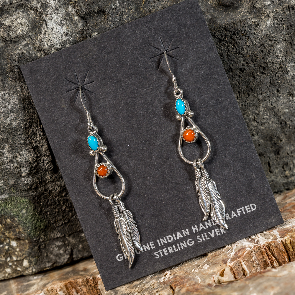Sleeping Beauty Turquoise Feather Drop Earrings SB200091