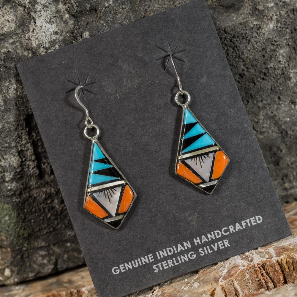 Sleeping Beauty Turquoise Geometric Inlay Earrings SB200092