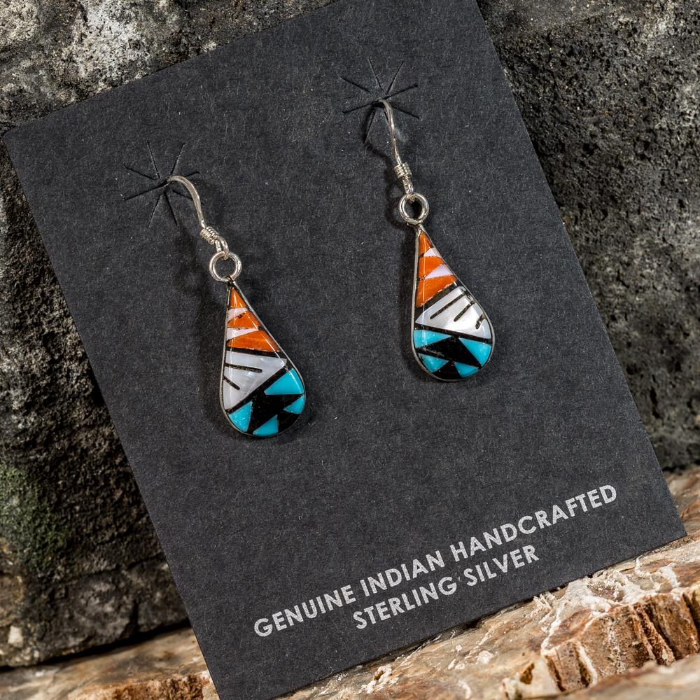 Sleeping Beauty Turquoise Teardrop Inlay Earrings SB200089