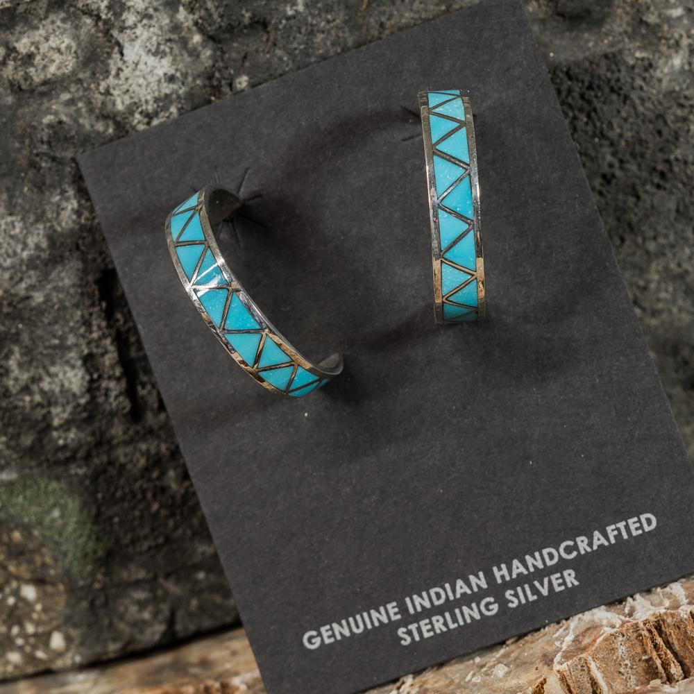 Sleeping Beauty Turquoise Geometric Inlay Hoop Earrings SB200095