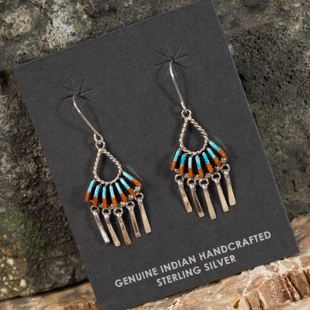 Sleeping Beauty Turquoise and Coral Needlepoint Earrings SB200097