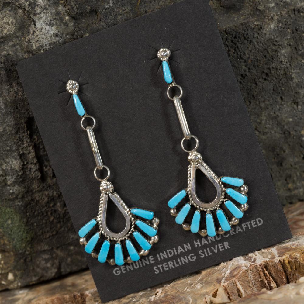 Sleeping Beauty Turquoise Petit Point Fan Earrings SB200098
