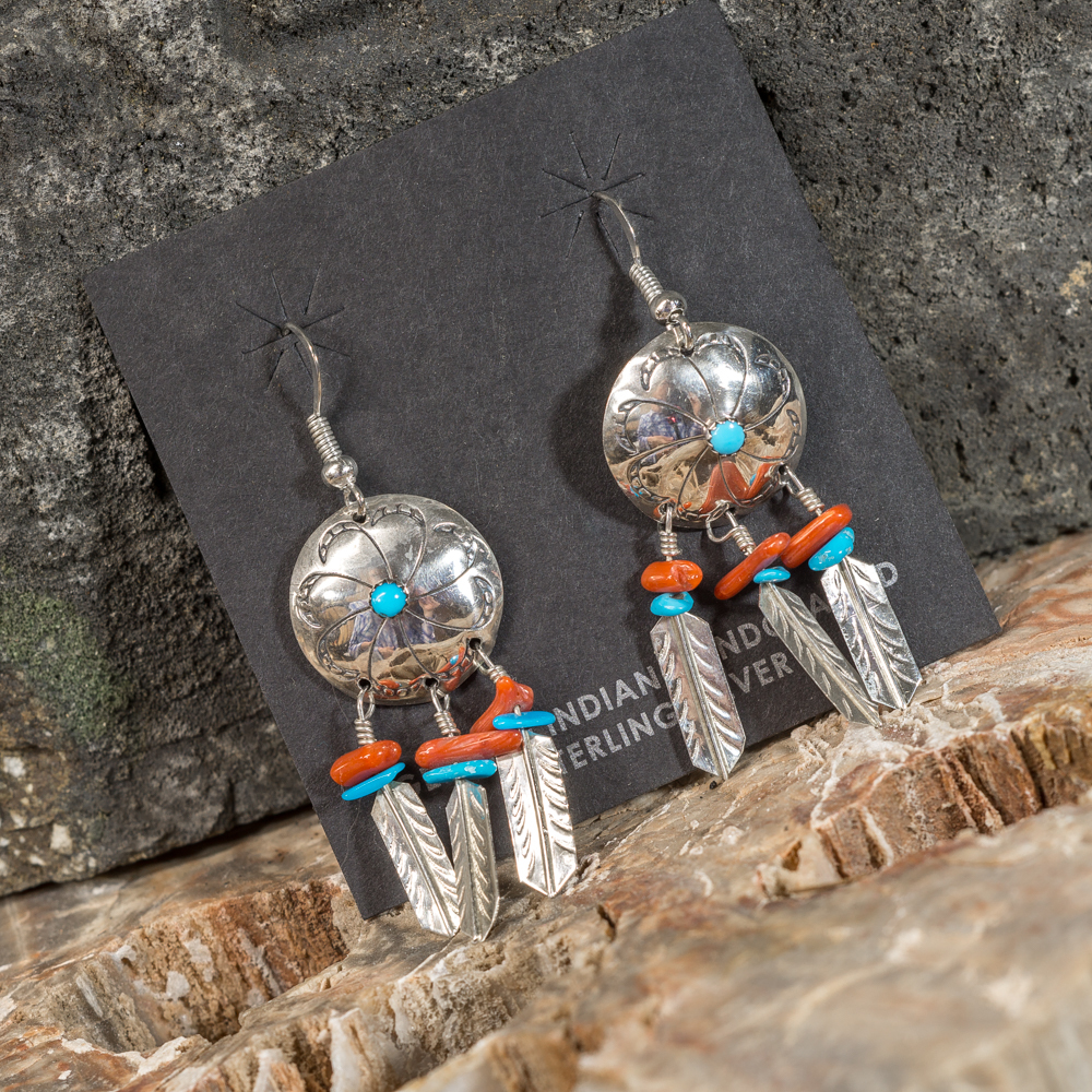 Silver Feather Earrings with Sleeping Beauty Turquoise and Coral SB200101