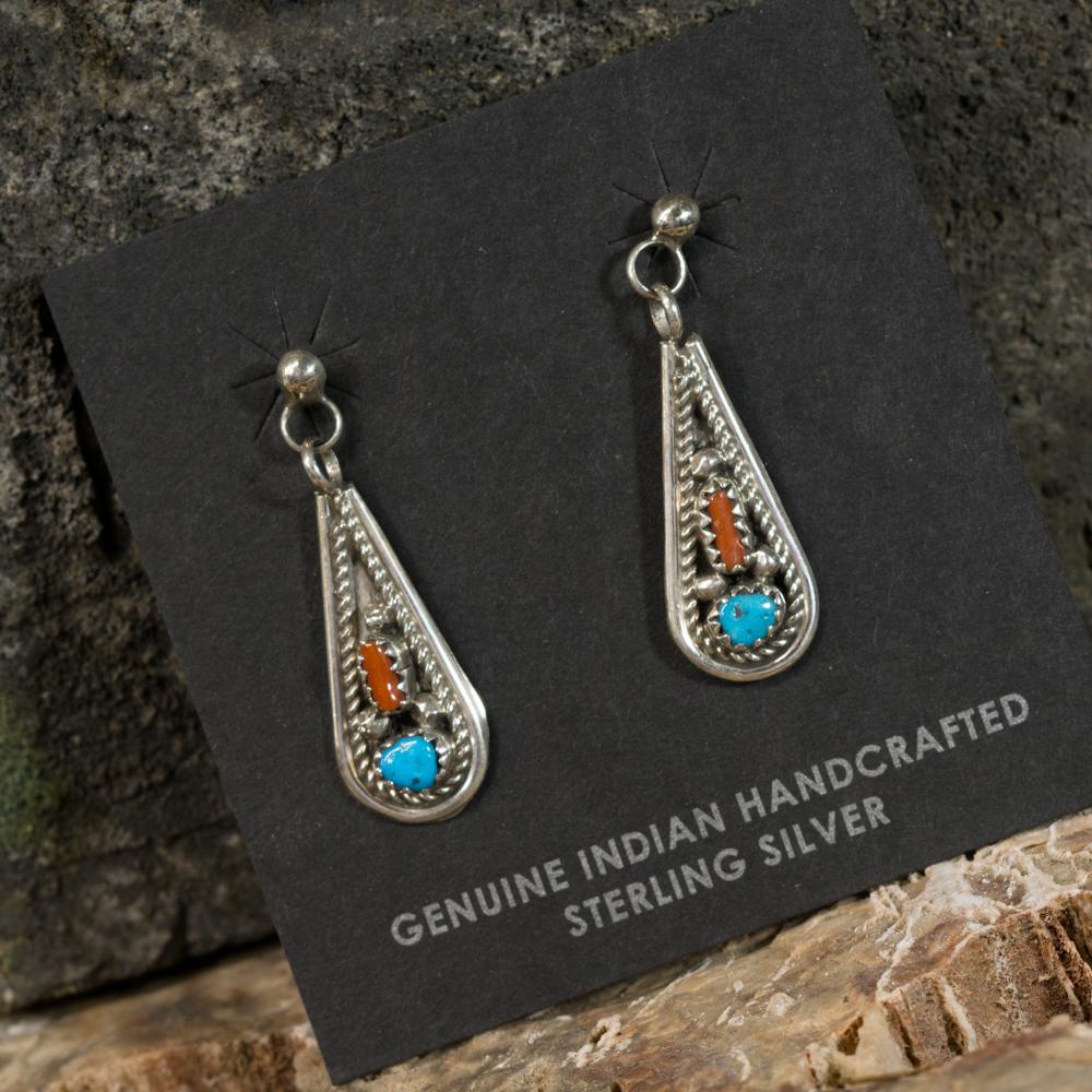 Sleeping Beauty Turquoise and Coral Teardrop Earrings SB200104