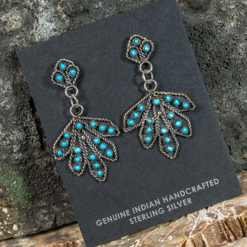 Sleeping Beauty Turquoise Petit Point Leaf Earrings SB200103