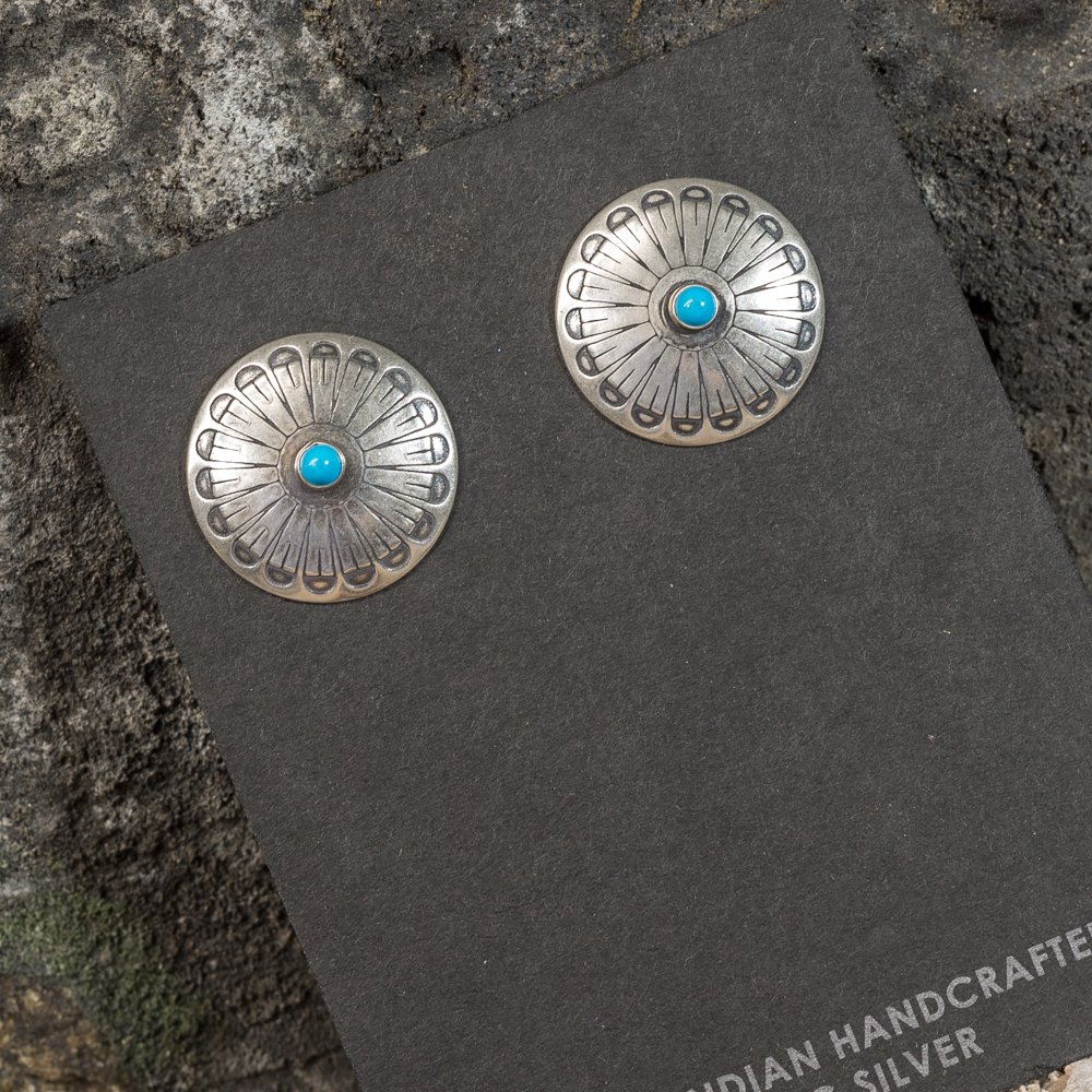 Silver Stamped Shield Earrings with Sleeping Beauty Turquoise SB200100