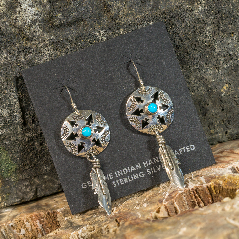 Silver Feather Arrow Earrings with Sleeping Beauty Turquoise SB200102