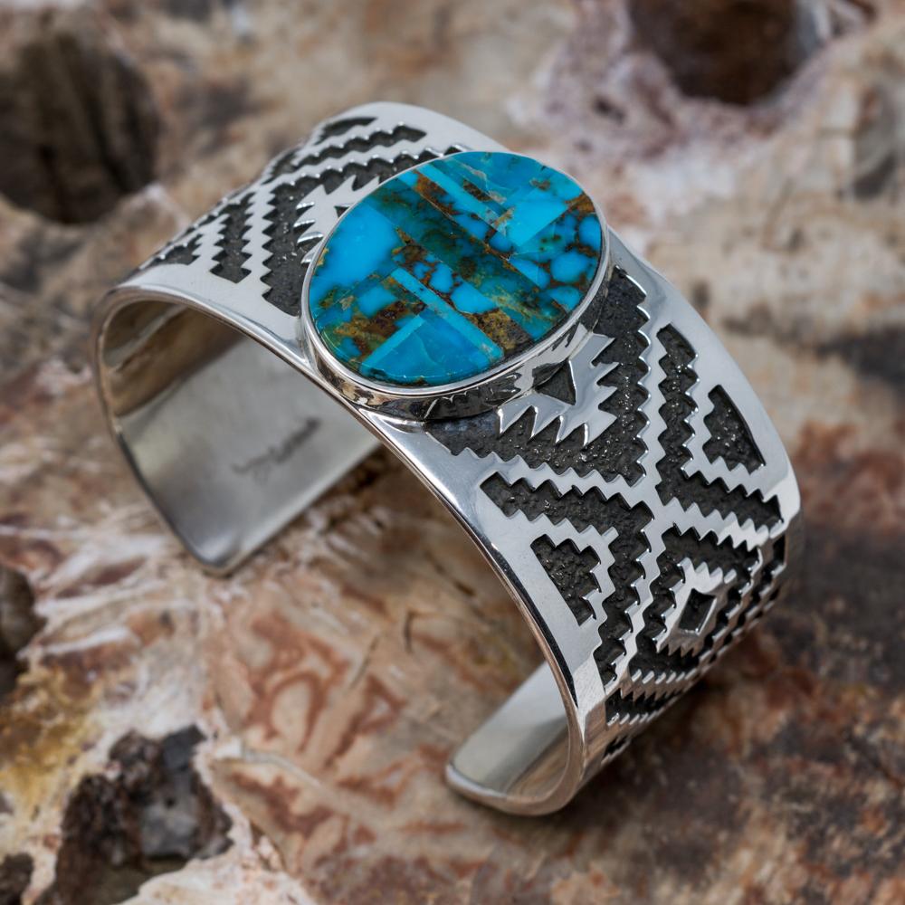 Old Kingman Turquoise Cuff Bracelet by Tommy Jackson JE200310
