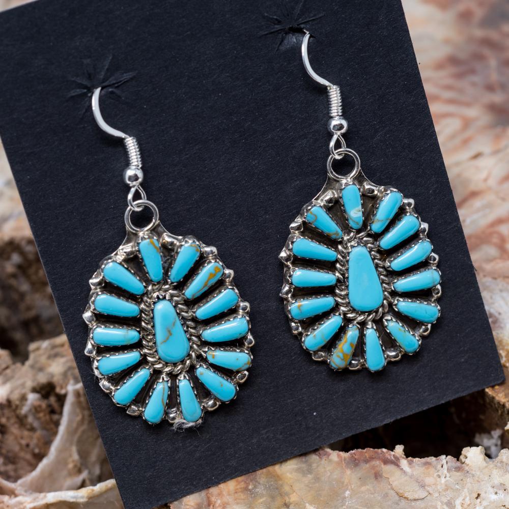 Kingman Turquoise Petit Point Earrings JE200317