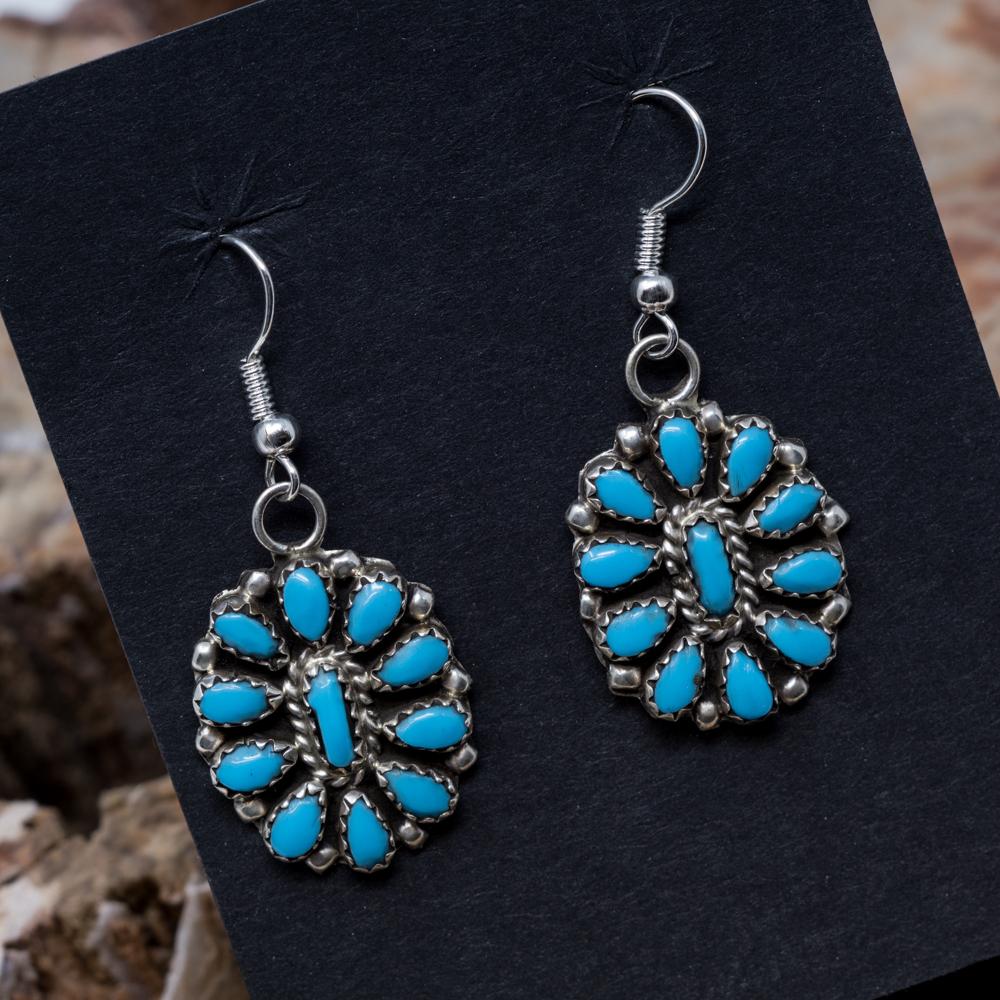 Kingman Turquoise Petit Point Earrings JE200320