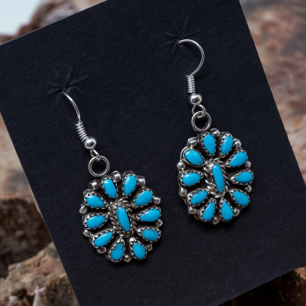 Kingman Turquoise Petit Point Earrings JE200321
