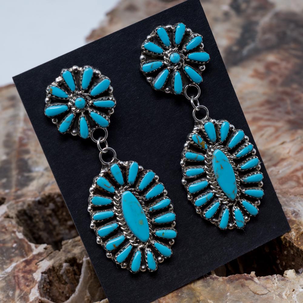 Kingman Turquoise Petit Point Earrings JE200319
