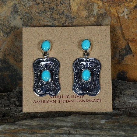 Sleeping Beauty Turquoise Stamped Earrings by Happy Piasso SB160159