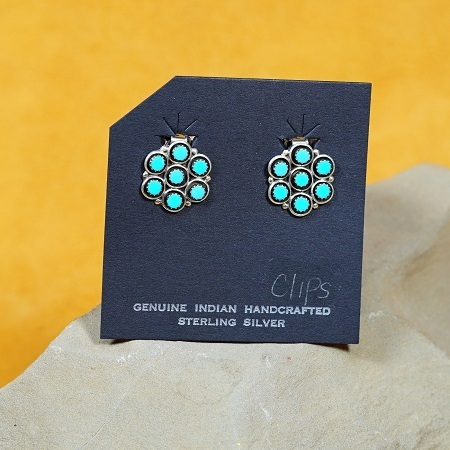 Seven Drop Snake Eye Flower Earrings with Sleeping Beauty Turquoise SB160282