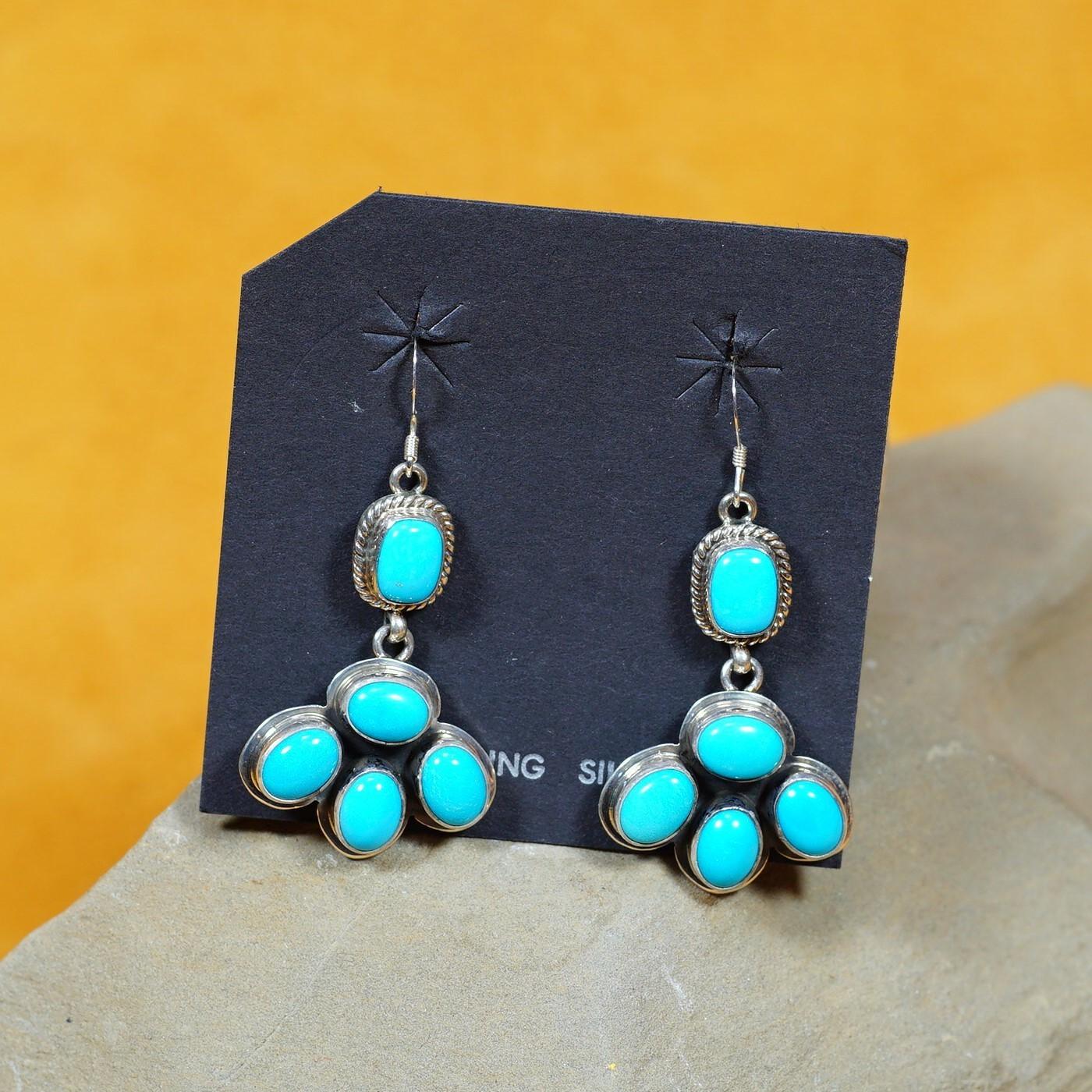 Five Drop Dangle Earrings with Sleeping Beauty Turquoise SB160285