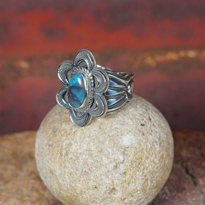 Stamped Floral Ring with Bisbee Turquoise by Tommy Jackson JE160084