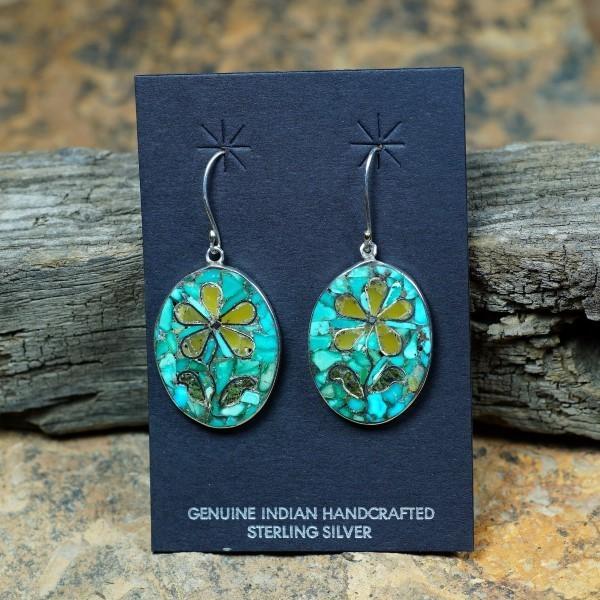 Sterling Silver Mosaic Inlay Flower Earrings by Mary Coriz JE160139