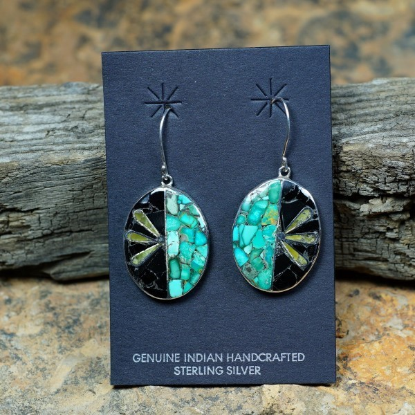 Sterling Silver Oval Mosaic Inlay Earrings by Mary Coriz JE160142