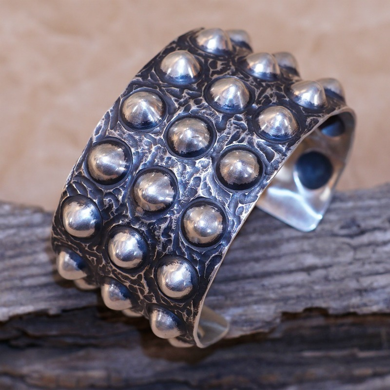 Sterling Silver Studded Bracelet by Ronnie Willie JE160305