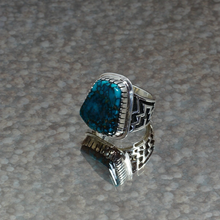 Men's Sterling Silver China Mountain Turquoise Ring