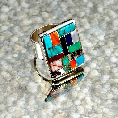 Sterling Silver Multi-Stone Inlay Ring by Tommy Jackson SB170002