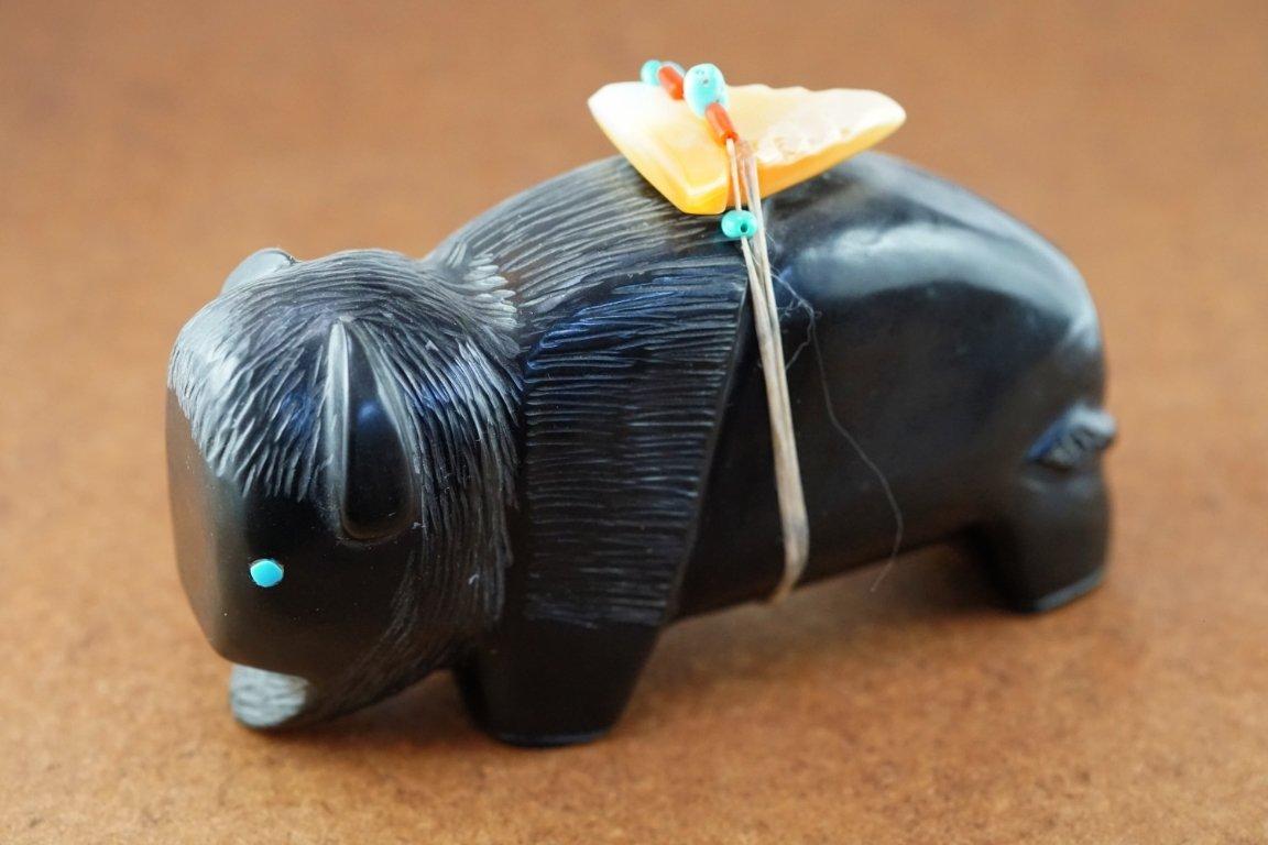 Zuni Jet Buffalo Fetish with Shell Arrow by Alvin Calavaza GA170104
