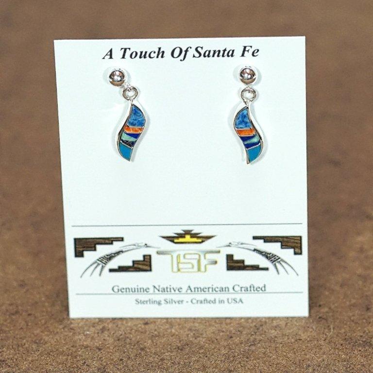Sterling Silver Wavy Inlay Earrings JE170027