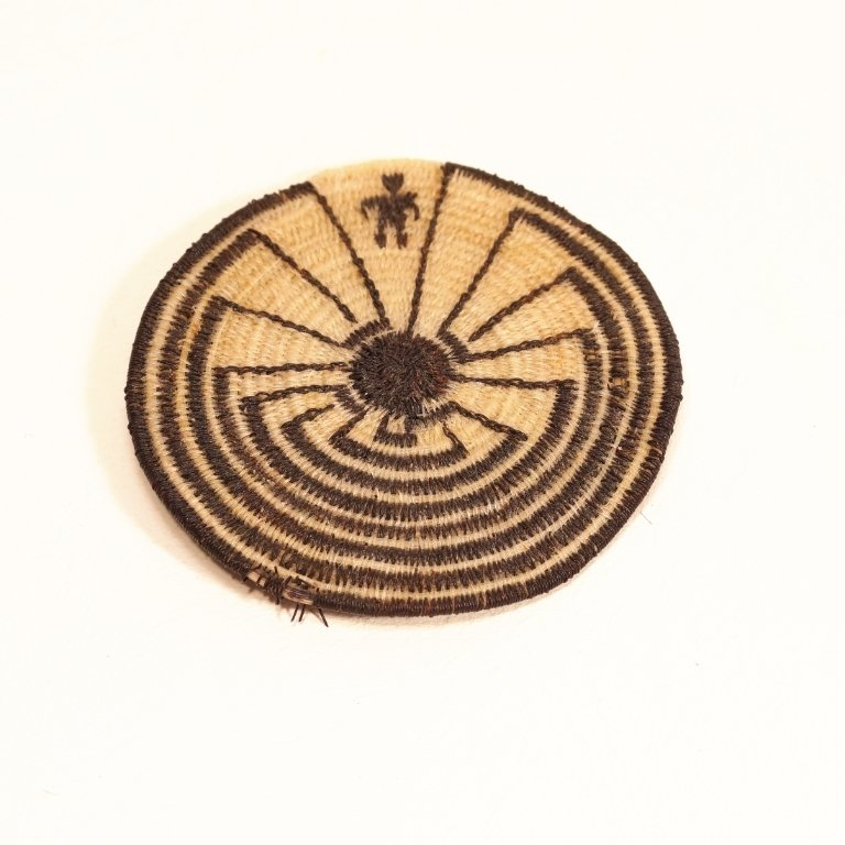 Tohono O'odham Man in The Maze Flat Horse Hair Basket GA170115