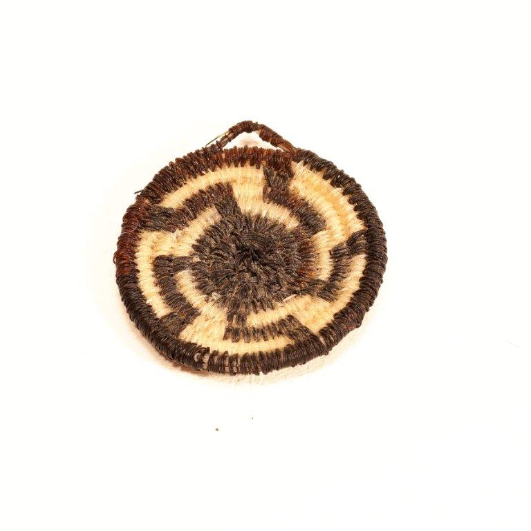 Tohono O'odham Black & White Wheel Design Horse Hair Basket GA170121