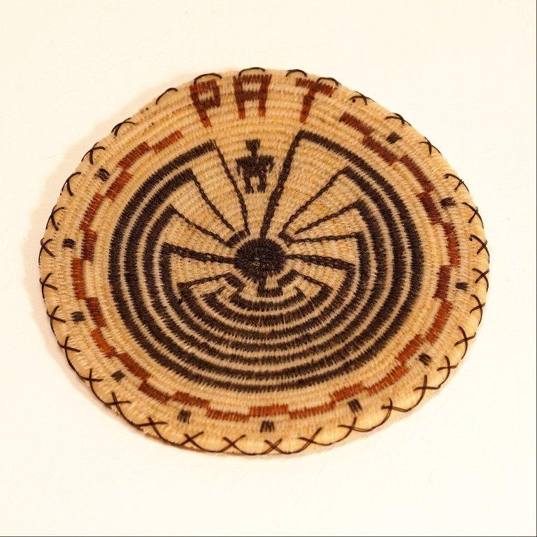 Tohono O'odham Man in The Maze w/Brown Horse Hair Basket GA170123