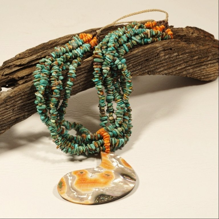 Priscilla Nieto Turquoise & Spiny Oyster Necklace JE170103