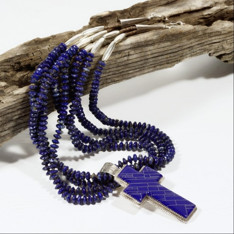 Lapis Lazuli Heishi Necklace with Cross Pendant JE170108