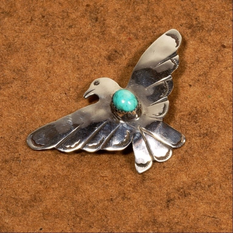 Thunderbird Pin w/Nevada Green Turquoise JE170121