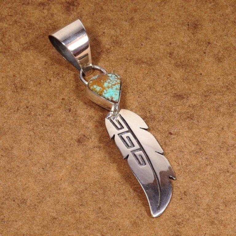 E.M. Teller King's Manassa Turquoise & Feather Pendant JE170142