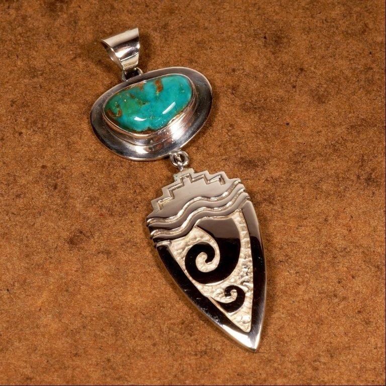 King's Manassa Turquoise & Silver Pendant JE170143