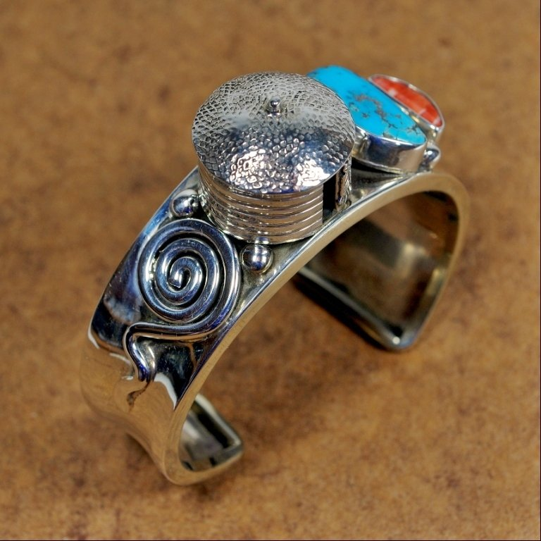 Sterling Silver Cuff with Hogan & Turquoise by Andy Marion