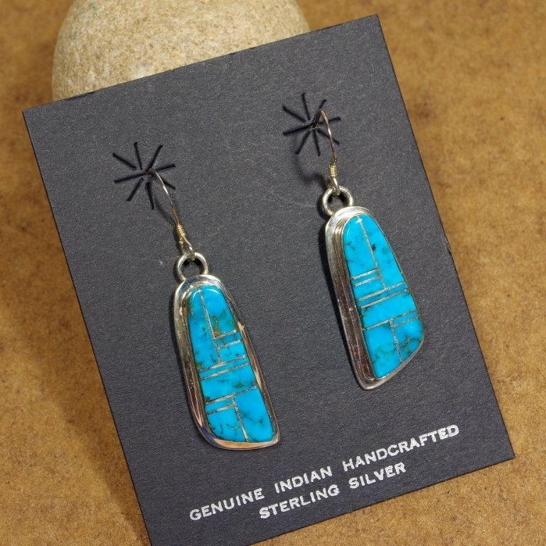 Morenci Turquoise Earrings by Tommy Jackson JE170168
