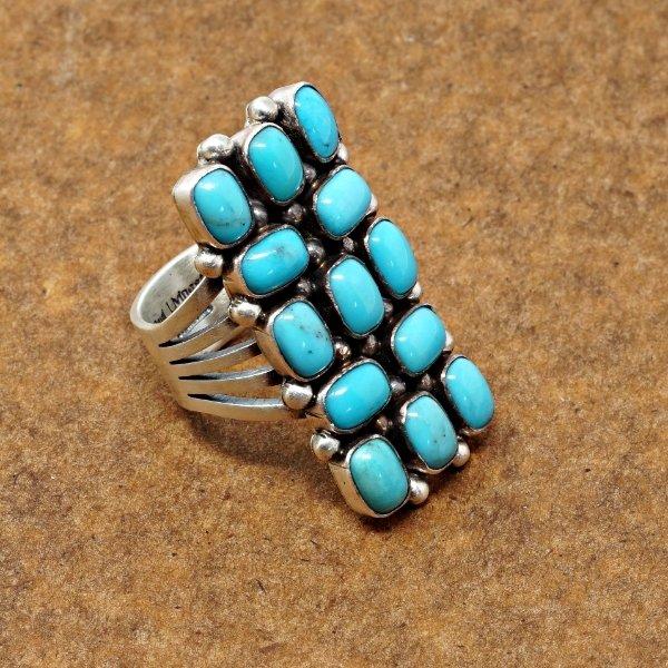 13 Stone Sleeping Beauty Turquoise Ring by Paul Livingston SB170095