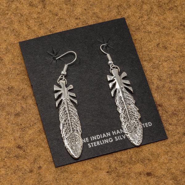 Gary Custer Tufa Cast Feather Earrings JE170239