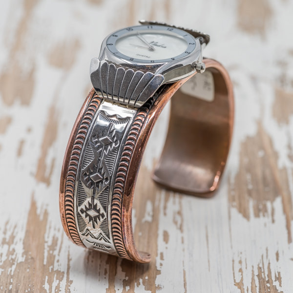 Men's Copper & Silver Watch by Randy Secatero JE180106