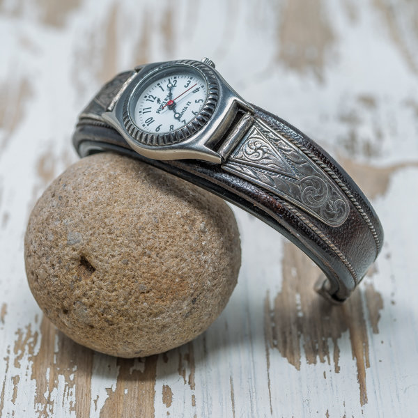 Leather & Silver Watch JE180108