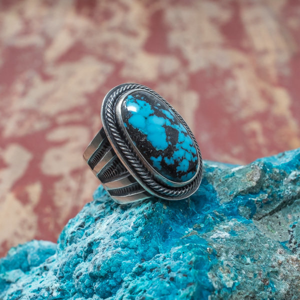 Tommy Jackson Blue Diamond Turquoise Ring JE180044