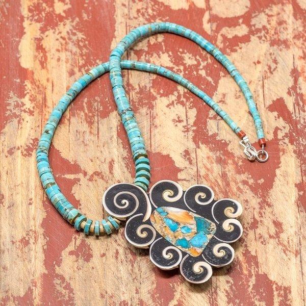 Mary Tafoya Turquoise/Multi Stone  Necklace with Pendant JE180083
