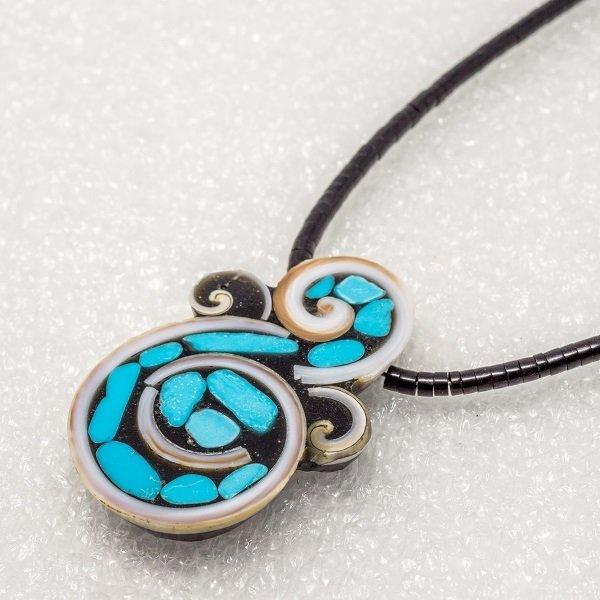 Mary L. Tafoya Organic Swirl Mosaic Pendant Necklace JE180097