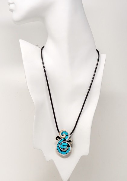 Mary L. Tafoya Organic Swirl Mosaic Pendant Necklace