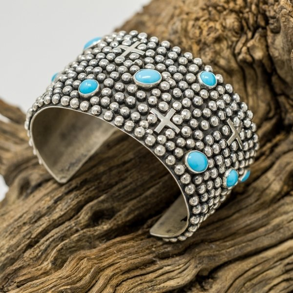 Sterling Silver Wide Cuff Bracelet with Sleeping Beauty Turquoise by Ronnie Willie SB170038