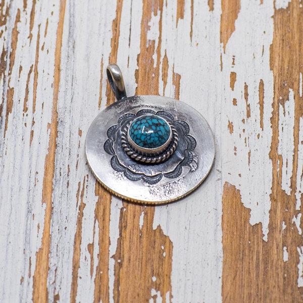 Bo Reeves Sterling Silver & Kingman Turquoise Pendant JE180135