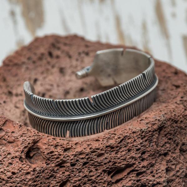 Sterling Silver Feather Cuff Bracelet by Freddie Maloney